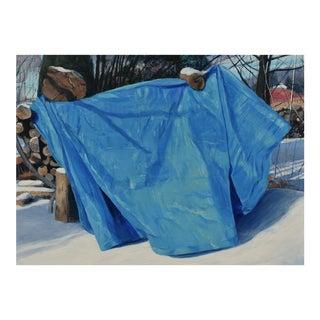 """Ellsworth's Woodpile"" Blue Tarp Painting For Sale"