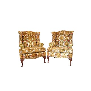 1970s Vintage Floral Tapestry Cut Chenille Wingback Chairs- A Pair For Sale