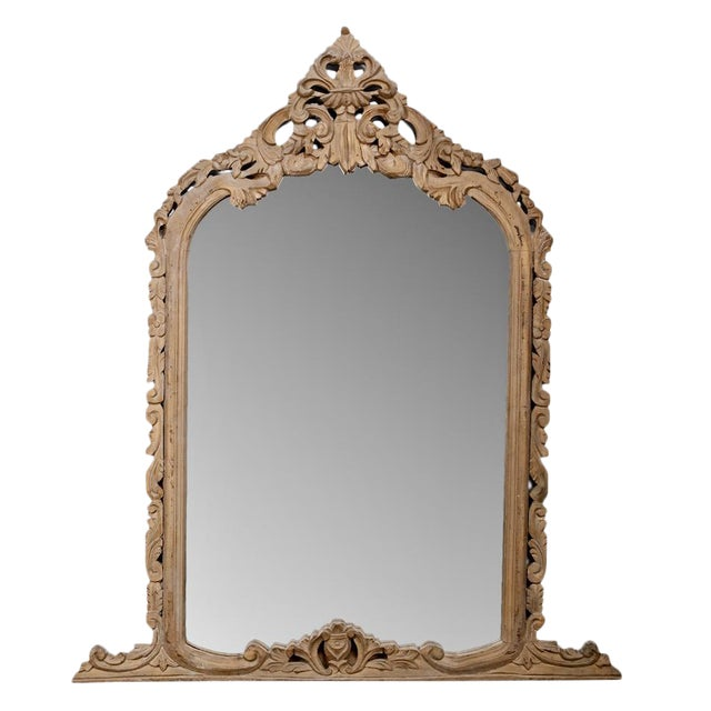 French Hand Carved Pine Crested Mantel Mirror c.1850 For Sale