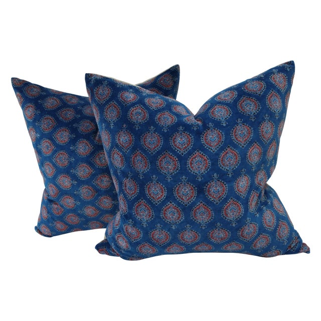 Block Print Velvet Pillows- A Pair - Image 1 of 4