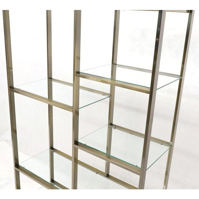 Brass and Glass Lighted Étagère Vitrine For Sale - Image 12 of 13