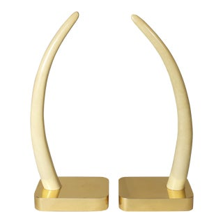 Wood Elephant Tusks on Brass Bases - a Pair For Sale