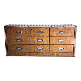 Burl Wood and Chrome Trim Lowboy Dresser For Sale