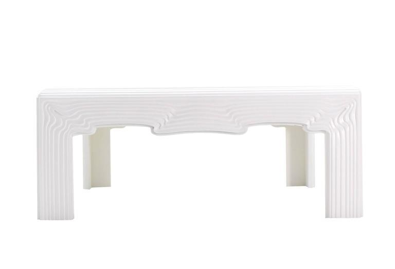 Square Modern Wave Pattern Carving White Lacquer Coffee Table For Sale In  New York   Image