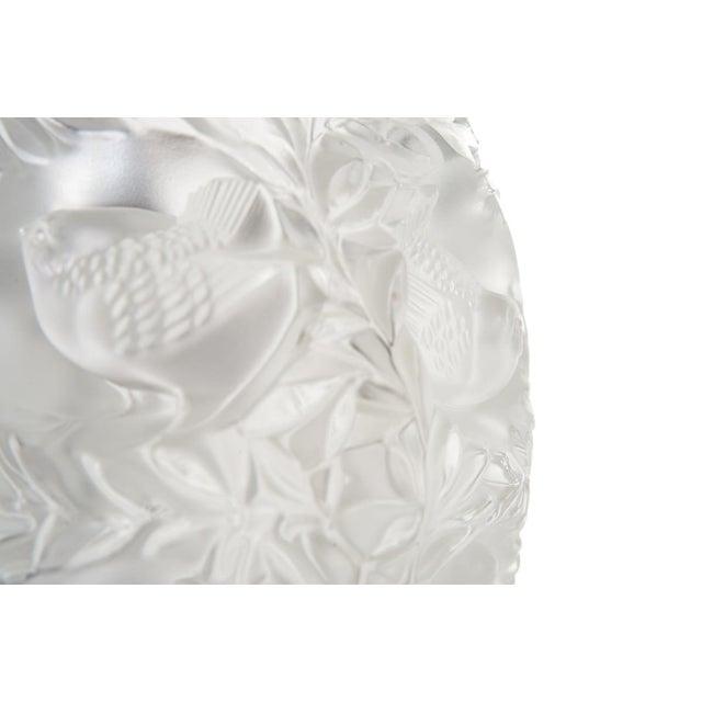 Excellent Lalique Paris Vintage Art Glass Vase With Birds Decaso