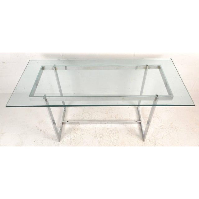 Milo Baughman Style Mid-Century Glass & Chrome Console Table - Image 3 of 6