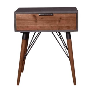 Industrial Mid-Mod Wood End Table