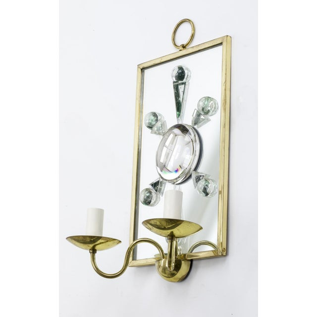 Andre Hayat pair of rock mirrored crystal and gold bronze rock pair of sconces.