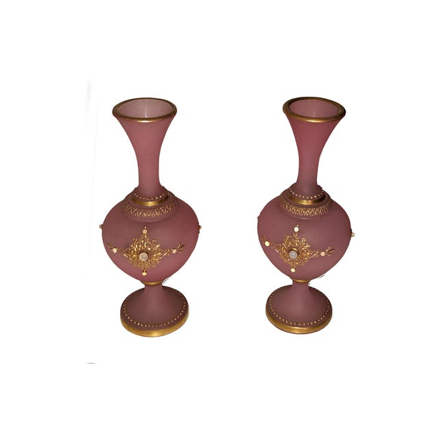 Antique French Pink Opaline Glass Vases - a Pair For Sale - Image 9 of 10