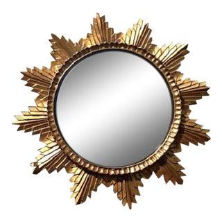 20th Century Hollywood Regency Gilded Wood Sunburst Convex Mirror For Sale