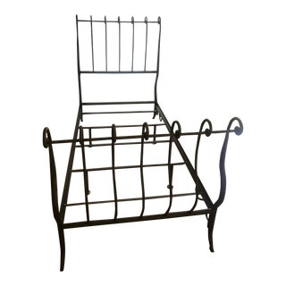 Rustic Wrought Iron Twin Sleigh Bedframe For Sale