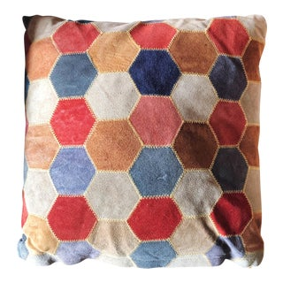Vintage Suede Honeycomb Patchwork Pillow For Sale