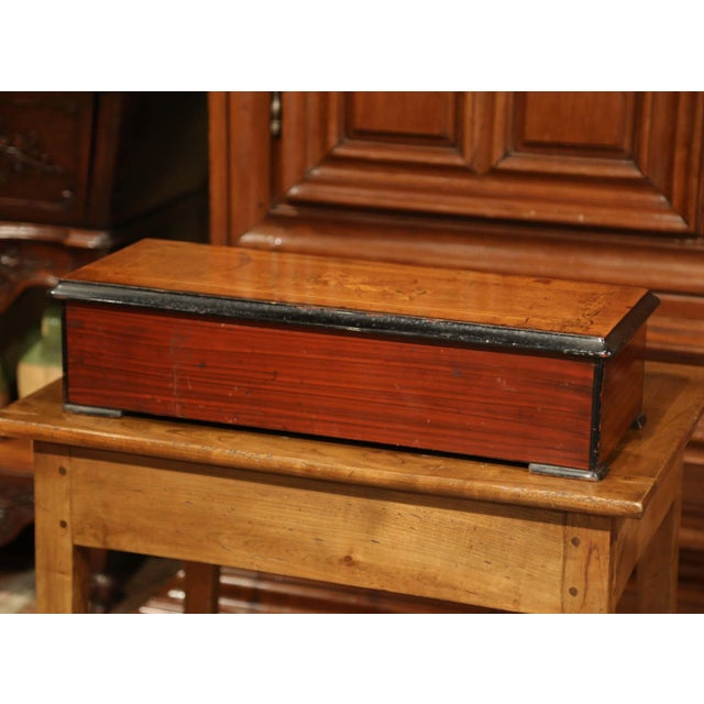 Large 19th Century Swiss Inlaid Walnut Cylinder Zither Music Box With 12 Songs For Sale - Image 10 of 11
