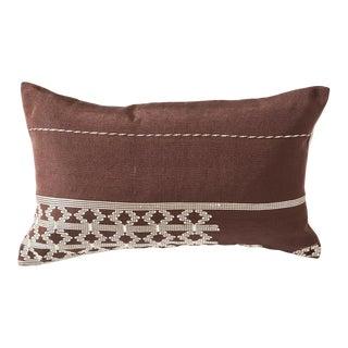 Handwoven Edo Lumbar Pillow in Chocolate Brown For Sale
