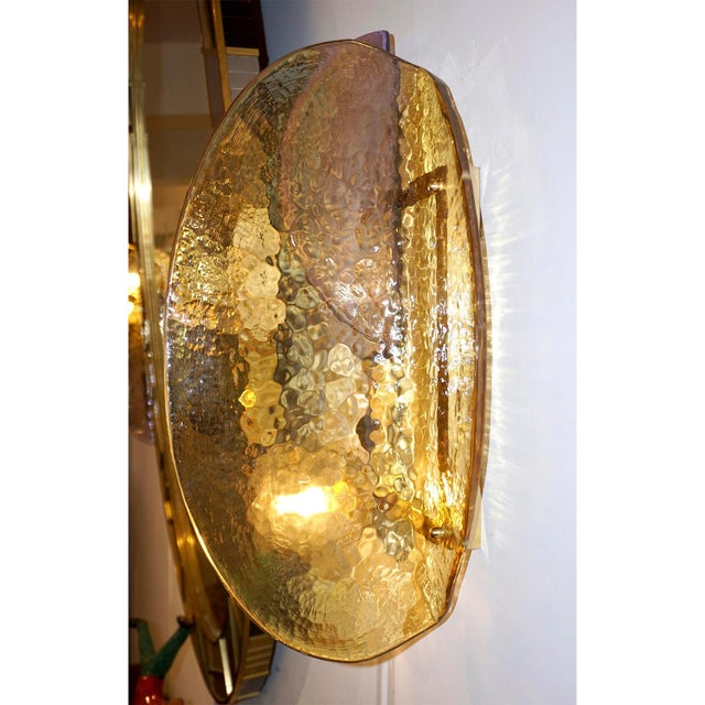Gold Contemporary Italian Amber and Amethyst Murano Glass Gold Brass Sconces - a Pair For Sale - Image 8 of 10