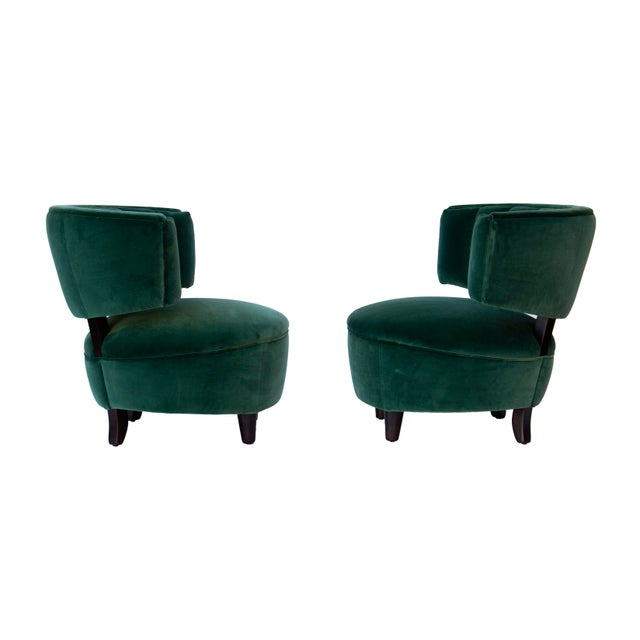 Pair of Emerald Green Velvet Channel Back Chairs After Billy Haines For Sale - Image 11 of 12
