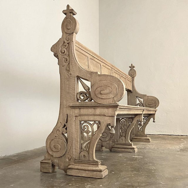 Gothic 19th Century Gothic Revival Church Pew, Bench For Sale - Image 3 of 13