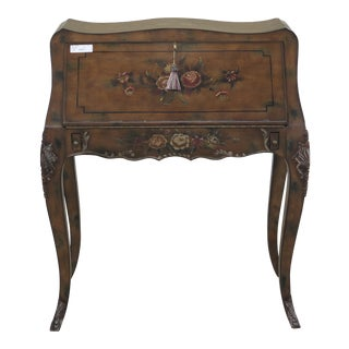 Slant Front French Louis XIV Paint Decorated Lady Desk For Sale