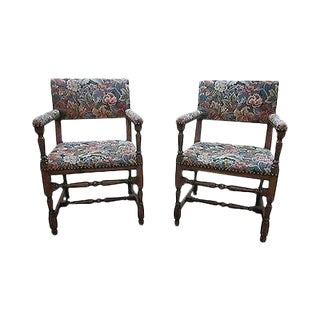 Antique Jacobean Style Pair of Library Arm Chairs For Sale