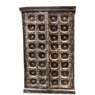 1920s Rustic Brass Medallion Detailed Wooden Cabinet For Sale