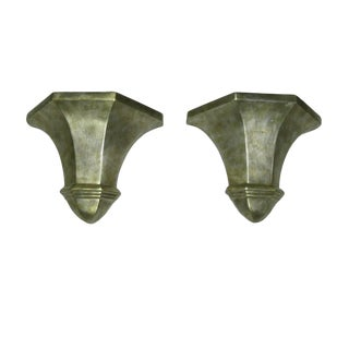 Large Silver Leaf Wall Sconces - a Pair For Sale