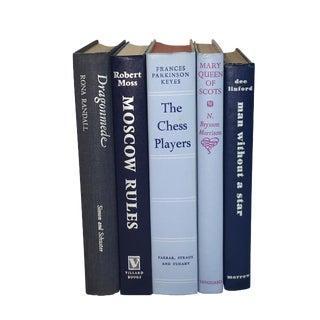 Vintage Display Books in Blues - Set of 5