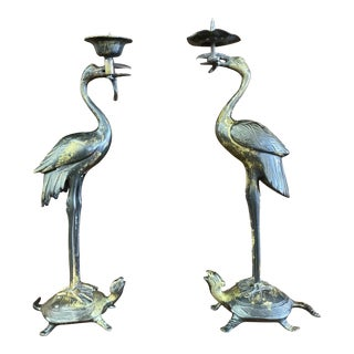 Pair of Antique Japanese Bronze Candlesticks For Sale