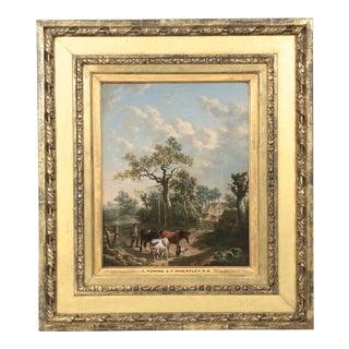 19th C. British School Farmer & Animals Oil Painting For Sale