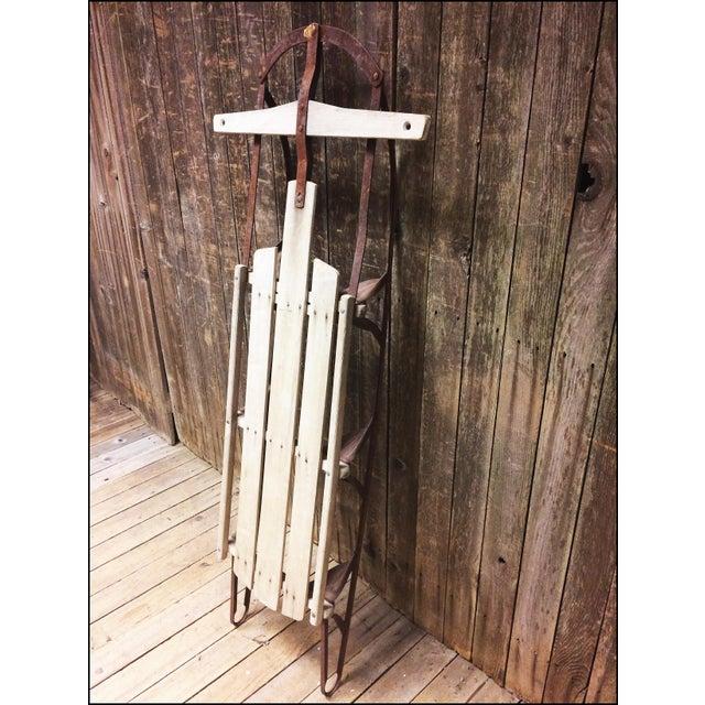 Vintage Brown Weathered Wood & Metal Runner Sled For Sale - Image 5 of 11