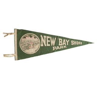 Vintage New Bay Shore Park Felt Flag Pennant For Sale