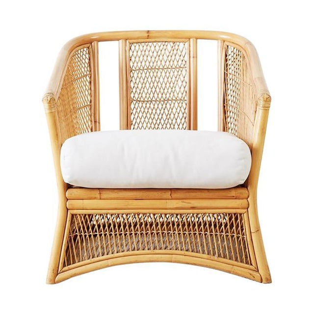 Midcentury Bamboo Rattan Wicker Lounge Chair For Sale - Image 13 of 13
