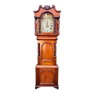 Antique 18c English Fruitwood Grandfather Clock For Sale