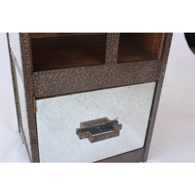 Pair of Iron and Antiqued Mirror End Tables With Limestone Tops For Sale - Image 10 of 11
