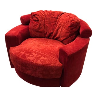 Vintage Vladimir Kagan for Roche Bobois Red Velvet Swivel Chair