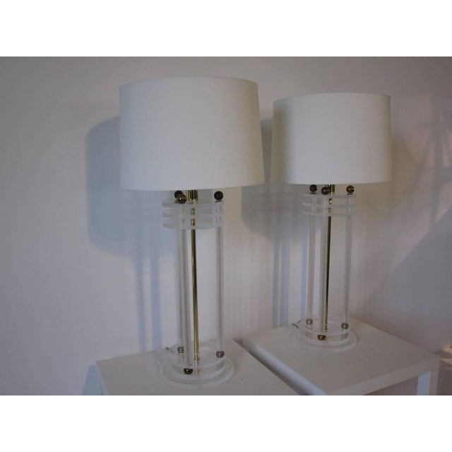 Brass Brass and Lucite Column Table Lamps For Sale - Image 7 of 7