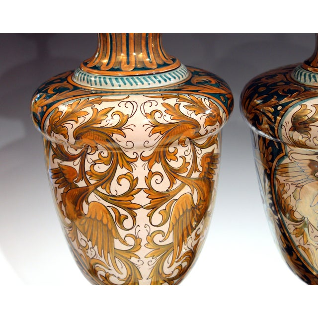 Gold Antique Gualdo Tadino Luster Pottery Italian Majolica Gargoyle Robbia Lamps - a Pair For Sale - Image 8 of 12