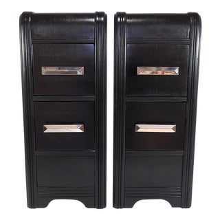 1930s Art Deco Nightstands With Chrome Pulls - a Pair For Sale