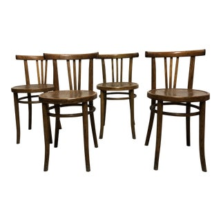 19th Century Art Nouveau French Bistro Walnut Chairs - Set of 4
