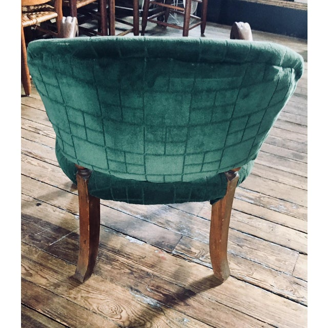 1920s Vintage Carved Emerald Armchair For Sale - Image 4 of 7