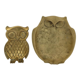 1960s Mid-Century Modern Brass Owl Catch All Dishes - Set of 2 For Sale