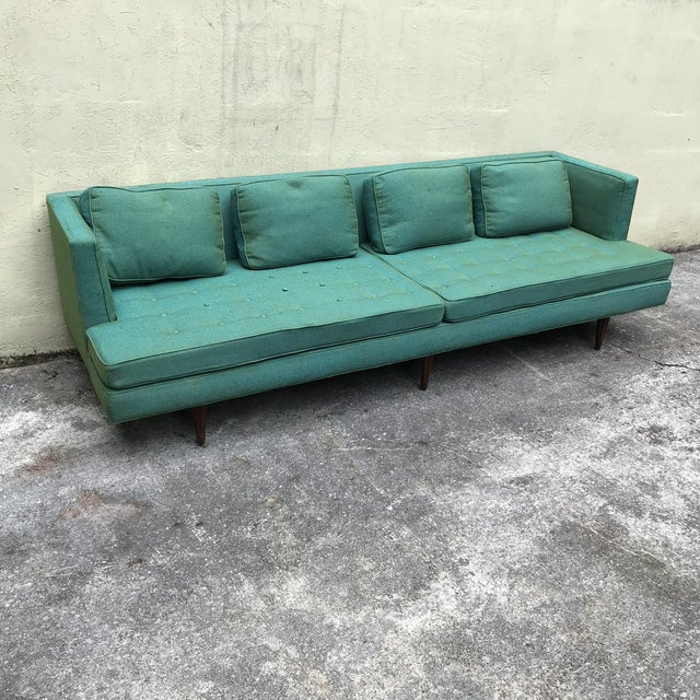 Edward Wormley 4907a Sofa for Dunbar With Knoll Fabric & Rosewood Legs For Sale - Image 13 of 13