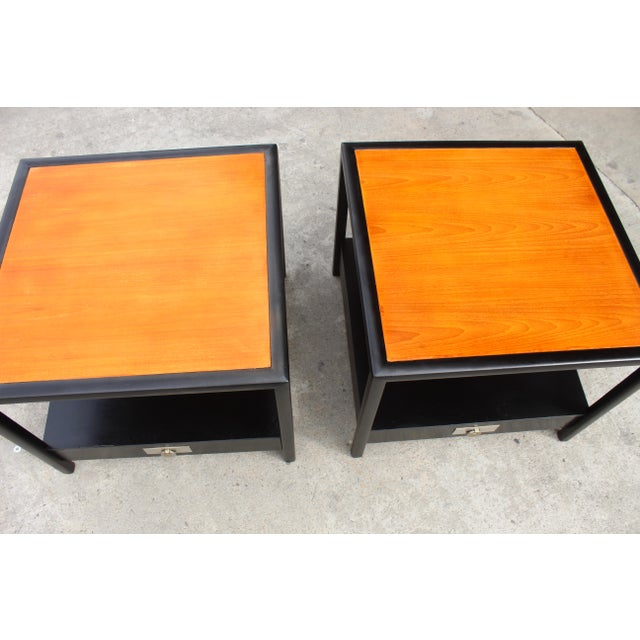 1960s Mid-Century Baker Walnut End Tables - a Pair For Sale - Image 5 of 13