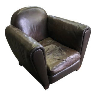 1940s Vintage Distressed Leather Club Chair For Sale