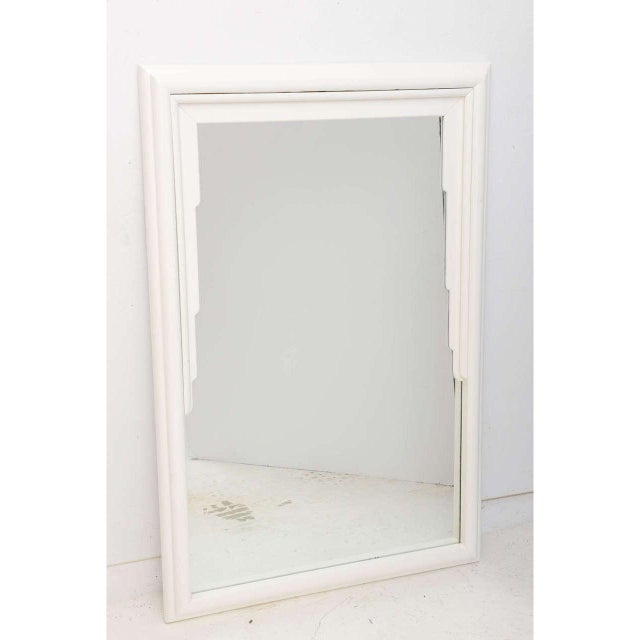 Wood Vintage Dorothy Draper White Lacquer Mirror Hollywood Regency Art Deco For Sale - Image 7 of 12