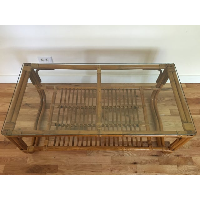Vintage Franco Albini Style Bamboo Glass Top Table - Image 3 of 7