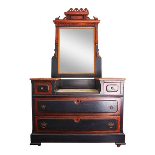 1890s East Lake Black & Cherrywood Dresser With Mirror For Sale