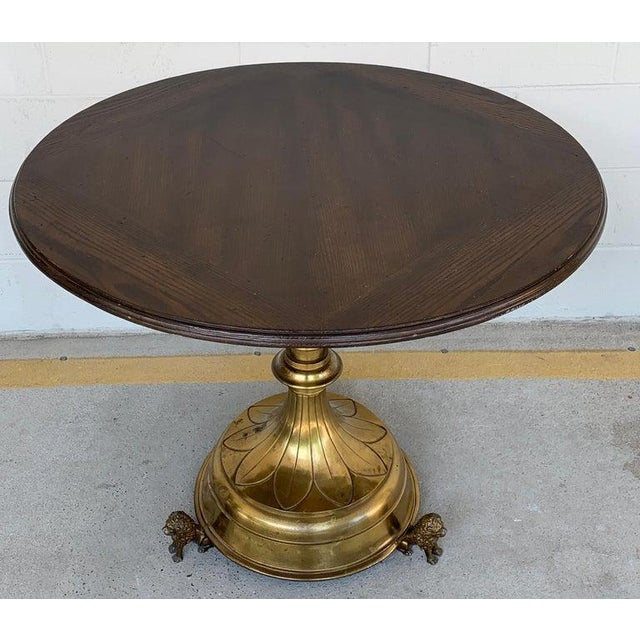 Metal Antique English Brass and Mahogany Lion Motif Pub Table For Sale - Image 7 of 10