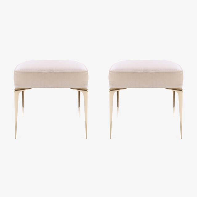 Colette Brass Ottomans in Nude Velvet by Montage, Pair - Image 4 of 7