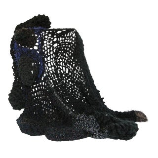 Bespoke Organic Form Crochet Throw Blanket by Paulaschubatis For Sale