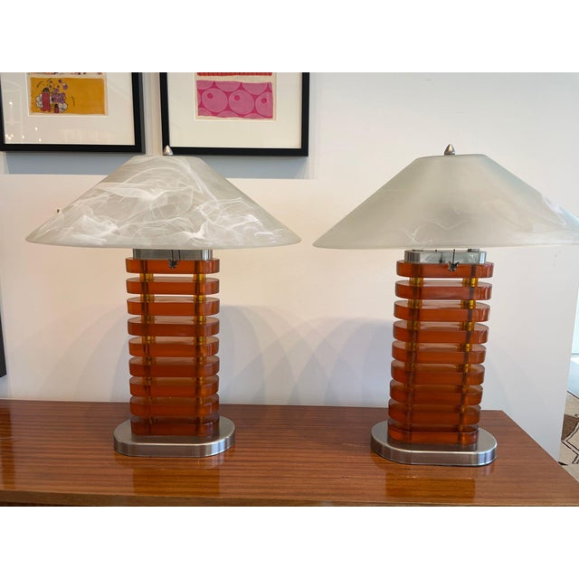 Vintage Acrylic Lamps With Glass Shades, a Pair For Sale - Image 11 of 11